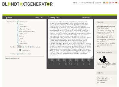 Blind Text Generator: Generador de texto simulado para diseñadores web