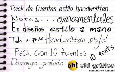 Pack de 10 fuentes escritas a mano (handwritten)