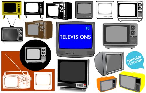 10 televisiones retro en vectores